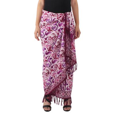 Violet and Magenta Print Batik Cotton Sarong
