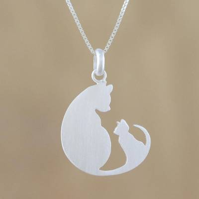 Sterling silver pendant necklace, 'Feline Love' - Sterling Silver Pendant Necklace of Two Cats from Thailand