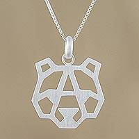 Sterling silver pendant necklace, 'Geometric Bear' - Bear-Shaped Sterling Silver Pendant Necklace from Thailand