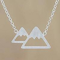 Sterling silver pendant necklace, 'Mountains of Chiang Mai' - Sterling Silver Mountain Pendant Necklace from Thailand