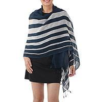 Cotton shawl, 'Cool Stripes in Navy' - Handwoven Striped Cotton Shawl in Navy from Thailand