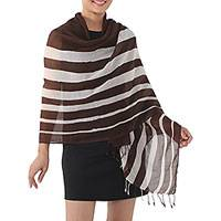 Cotton shawl, 'Cool Stripes in Espresso' - Handwoven Striped Cotton Shawl in Espresso from Thailand