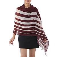 Cotton shawl, 'Cool Stripes in Maroon' - Handwoven Striped Cotton Shawl in Maroon from Thailand