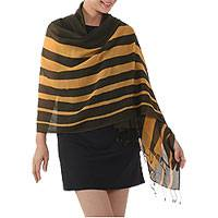 Cotton shawl, 'Cool Stripes in Amber' - Handwoven Striped Cotton Shawl in Amber from Thailand