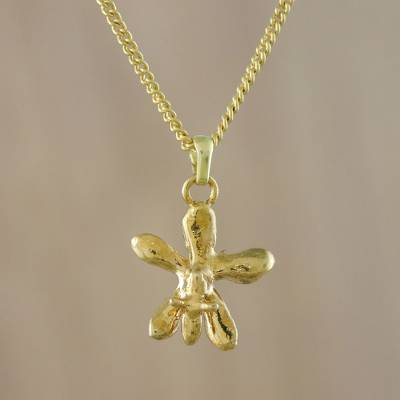 Gold plated orchid pendant necklace, 'Starry Orchid' - Gold Plated Orchid Pendant Necklace from Thailand