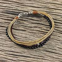 Onyx beaded bracelet, 'Daily Relaxation' - Onyx and Karen Silver Beaded Bracelet from Thailand