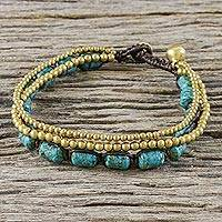 Brass beaded bracelet, 'Andaman Sea Bells' - Beaded Bracelet with Brass and Reconstituted Turquoise