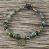 Agate beaded bracelet, 'Ko Samui Waves' - Multicolored Agate and Brass Bracelet with Button Clasp