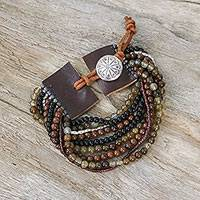 Multi-gemstone beaded bracelet, 'Exotic Hill Tribe' - Leather Accent Multi-Gemstone Beaded Bracelet from Thailand