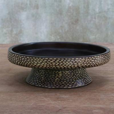 Wood catchall, 'Parallel Paths' - Mango Wood Hand Carved Catchall from Thailand