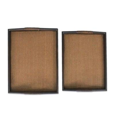 Mango wood and Rattan Trays in Dark Brown (Pair)