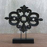 Wood sculpture, 'Lanna Arabesque in Black' - Thai Style Wood Carving Sculpture on Wood Base