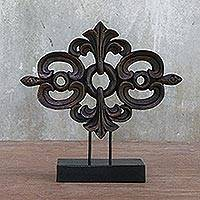Wood sculpture, 'Lanna Arabesque in Brown' - Brown Wood Sculpture on Black Base Handmade in Thailand