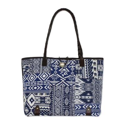 Deep Blue and White Patchwork Shoulder Bag