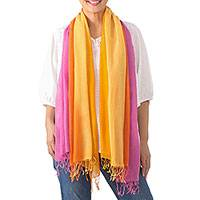 Cotton scarves, 'Sunrise Breeze' (pair) - Handwoven Bright Striped Cotton Wrap Scarves (Pair)