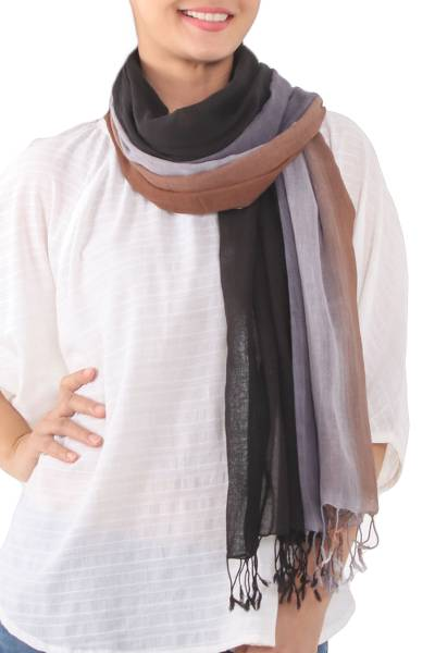 Cotton scarves, 'Mountainside Breeze' (pair) - Fringed Cotton Scarves in Brown and Grey (Pair)