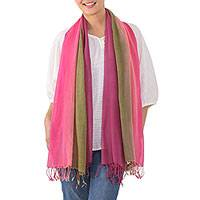 Cotton scarf, 'Grove Breeze' - Fringed Striped Cotton Scarf in Pink and Green from Thailand