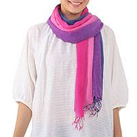 Cotton scarf, 'Dusk Breeze' - Striped Cotton Wrap Scarf in Pink and Purple from Thailand