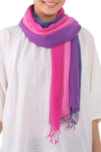 Cotton scarves, 'Dusk Breeze' (pair) - Ombre Cotton Wrap Scarves (Pair) from Thailand