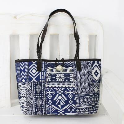 Leather accent cotton blend shoulder bag, 'Sapphire Geometry' - Sapphire Patchwork Cotton Blend Shoulder Bag from Thailand