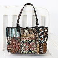 Leather accent cotton blend shoulder bag, 'Colorful Geometry' - Handmade Patchwork Cotton Blend Shoulder Bag from Thailand