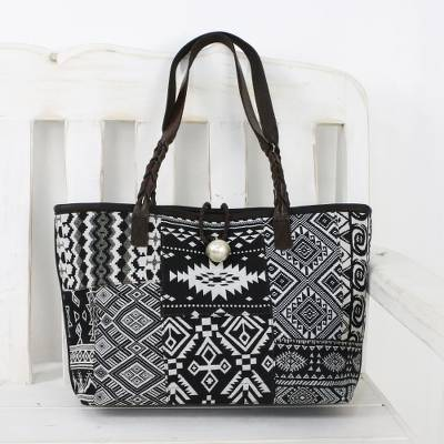 Leather accent cotton blend shoulder bag, 'Black and White Geometry' - Black and White Cotton Blend Shoulder Bag from Thailand