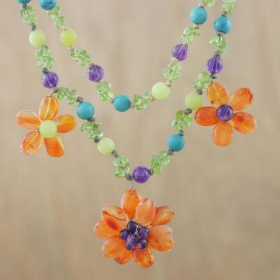 Multi-gemstone pendant necklace, Floral Morning