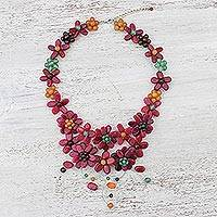 Multi-gemstone pendant necklace, 'Garland Bloom in Red' - Floral Multi-Gemstone Necklace in Red from Thailand
