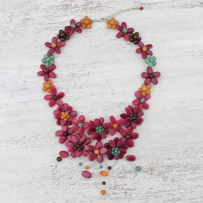 Multi-gemstone pendant necklace, Garland Bloom in Red