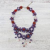 Multi-gemstone pendant necklace, 'Garland Bloom in Purple' - Floral Multi-Gemstone Necklace in Purple from Thailand