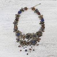 Multi-gemstone pendant necklace, 'Garland Bloom in Smoke' - Floral Multi-Gemstone Necklace in Grey from Thailand