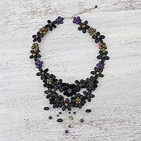 Multi-gemstone pendant necklace, 'Garland Bloom in Black' (Thailand)