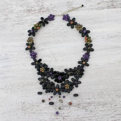 Multi-gemstone pendant necklace, 'Garland Bloom in Black' - Floral Multi-Gemstone Necklace in Black from Thailand