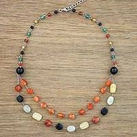 Multi-gemstone station necklace, 'Succulent Drops' - Multi-Gem Station Necklace with Aventurine from Thailand