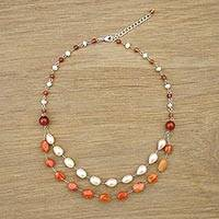 Multi-gemstone station necklace, 'Apricot Drops' - Cultured Pearl and Carnelian Station Necklace from Thailand