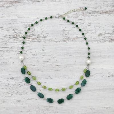 Multi-gemstone beaded necklace, 'Verdant Drops' - Multi-Gemstone Station Necklace with Quartz from Thailand