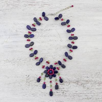 Lapis lazuli and quartz pendant necklace, 'Floral Felicity' - Beaded Pendant Necklace with Lapis Lazuli from Thailand