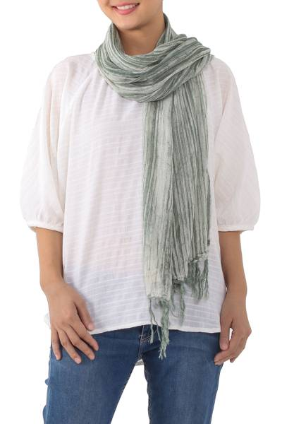 Batik cotton scarf, 'Mossy Paths' - Handwoven Batik Cotton Wrap Scarf in Moss from Thailand