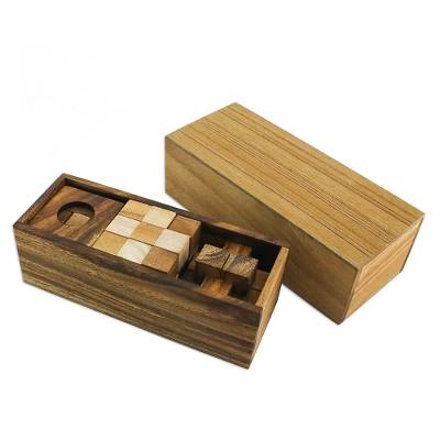 Set of Three Handcrafted Wood Puzzles from Thailand