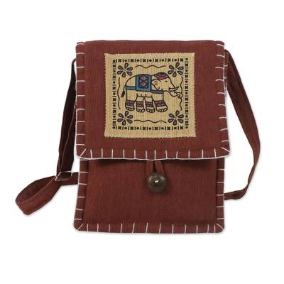 Cotton Sling with Elephant Print in Mahogany from Thailand