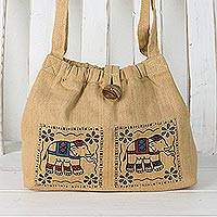 Cotton shoulder bag, 'Chic Elephants' - Cotton Shoulder Bag with Elephant Prints from Thailand