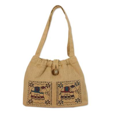Cotton Shoulder Bag with Elephant Prints from Thailand
