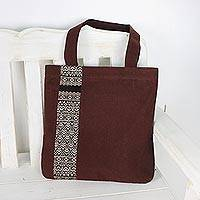Cotton tote bag, 'Chiang Mai Lanna' - Embroidered Thai Style Brown Cotton Tote Bag