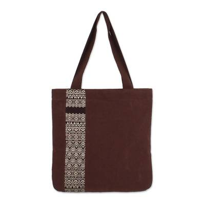 Embroidered Thai Style Brown Cotton Tote Bag