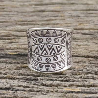 Sterling silver wrap ring, 'Exotic Silver' - Sterling Silver Wrap Ring from Thailand Hill Tribes