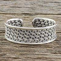 Sterling silver cuff bracelet, 'Peaceful Weave' - Handcrafted Sterling Silver Cuff Bracelet from Thailand