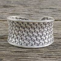 Sterling silver cuff bracelet, 'Basketwork' - Woven Texture Sterling Silver Cuff Bracelet for Women