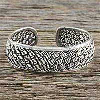 Sterling silver cuff bracelet, 'Tight Weave' - Handcrafted Sterling Silver Cuff Bracelet from Thailand
