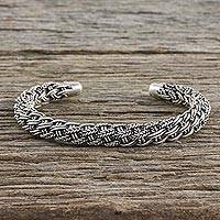 Sterling silver cuff bracelet, 'Thai Braid' - Handcrafted Sterling Silver Cuff Bracelet from Thailand