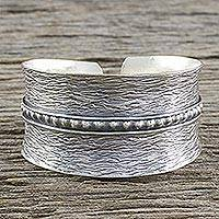 Sterling silver cuff bracelet, 'Touch of Thailand' (Thailand)